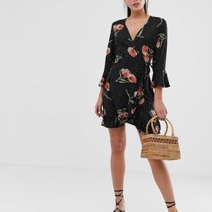 NWT ASOS Influence black floral ruffle dress 22